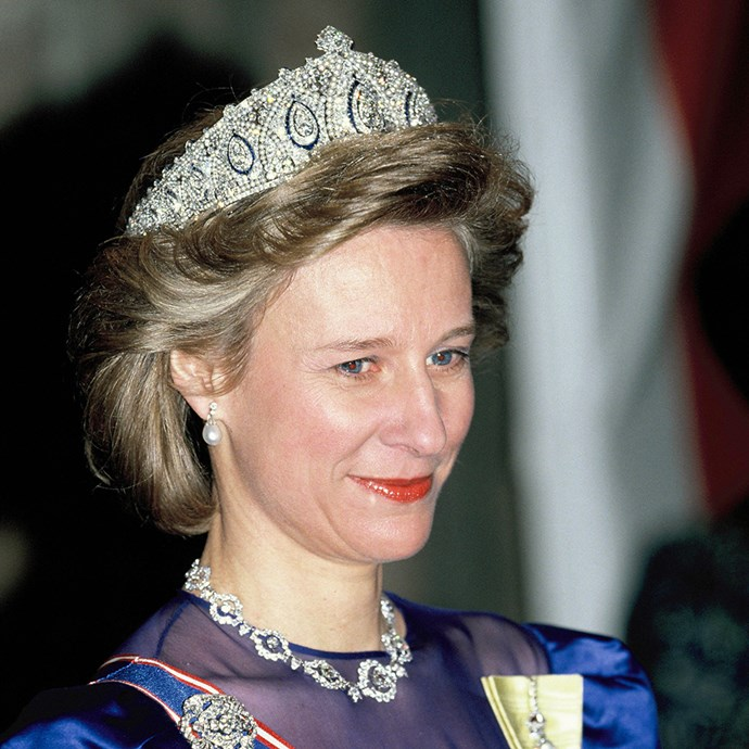 **The tiara:** The Cartier Indian Tiara.<br><br> **The history:** Another huge piece, this sapphire, diamond and pearl number was originally owned by Princess Marie Louise.<br><br> **The current wearer:** Birgitte, Duchess of Gloucester.<br><br>