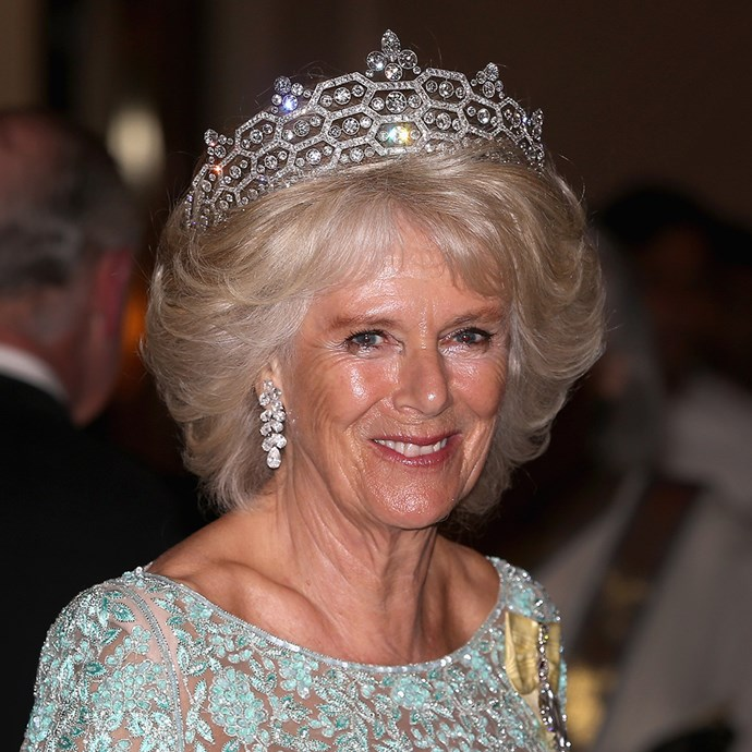 **The tiara:** The Greville Tiara.<br><br> **The history:** This tiara was actually created from another which was dismantled in 1901. It features a distinctive 'honeycomb' structure and is made out of diamonds and platinum.<br><br> **The current wearer:** Camilla, Duchess of Cornwall. <br><br>