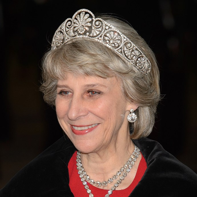 **The tiara:** The Gloucester Honeysuckle Tiara.<br><br> **The history:** Created for Queen Mary of Teck, this massive tiara is made to have an interchangeable centre,  where a brooch or jewel can be placed.<br><br> **The current wearer:** Birgitte, Duchess of Gloucester.<br><br>