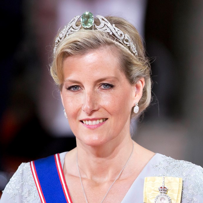 **The tiara:** The Wessex Aquamarine Necklace Tiara.<br><br> **The history:** A relatively new tiara, this aquamarine is piece is rumoured to have been bought for Sophie, Countess of Wessex, by her husband's family. <br><br> **The current wearer:** Sophie, Countess of Wessex.<br><br>