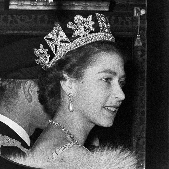 **The tiara:** The George IV State Diadem.<br><br> **The history:** This special piece, made in 1820, has been worn by four queens so far: Queen Victoria, Alexandra, Mary and Elizabeth II. It's one of the more symbolic ones, as it's only worn by queens.<br><br> **The current wearer:** Queen Elizabeth II.<br><br>