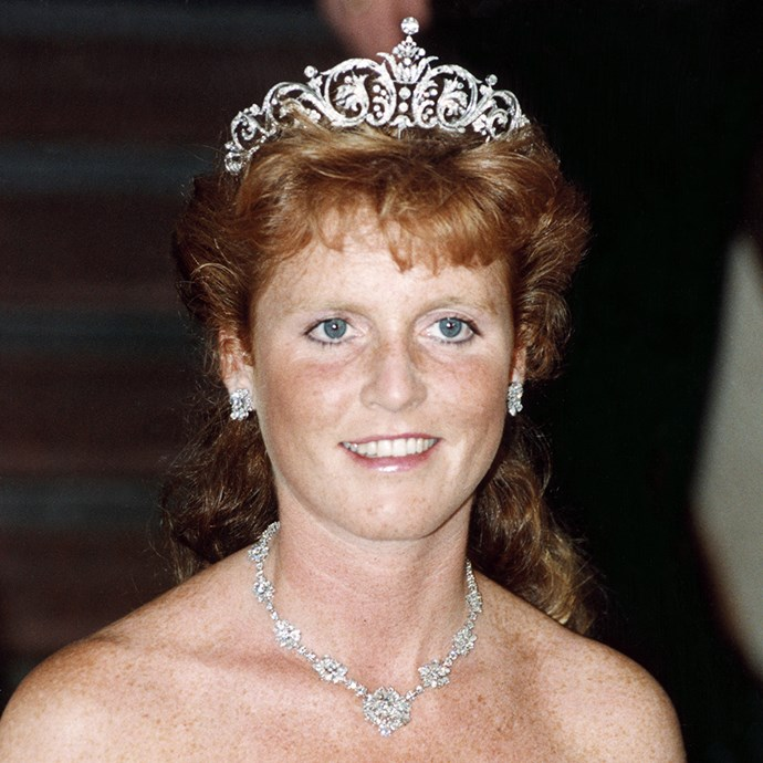 **The tiara:** The York Diamond Tiara.<br><br> **The history:** In a surprise move, the royal family had a brand new tiara made for royal bride Sarah Ferguson when she married into the family. It was made by Garrard.<br><br> **The current wearer:** Sarah, Duchess of York.<br><br>
