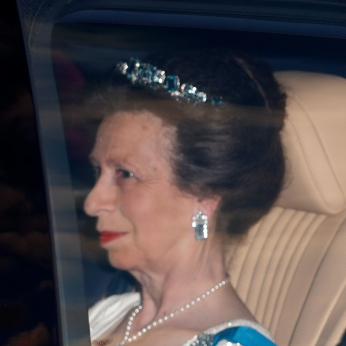 **The tiara:** The Aquamarine Pineflower Tiara.<br><br> **The history:** One of the lesser-worn tiaras, this aquamarine piece was given to the Queen Mother by her husband, King George VI. She then passed it onto Princess Anne.<br><br> **The current wearer:** Anne, Princess Royal.<br><br>