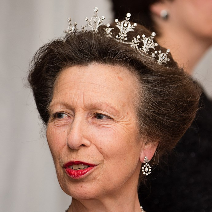 **The tiara:** The Festoon Tiara.<br><br> **The history:** A privately-owned tiara, this piece was given to Princess Anne by a shipping company in 1973. Her daughter-in-law, Autumn Phillips, wore it on her wedding day.<br><br> **The current wearer:** Anne, Princess Royal.<br><br>