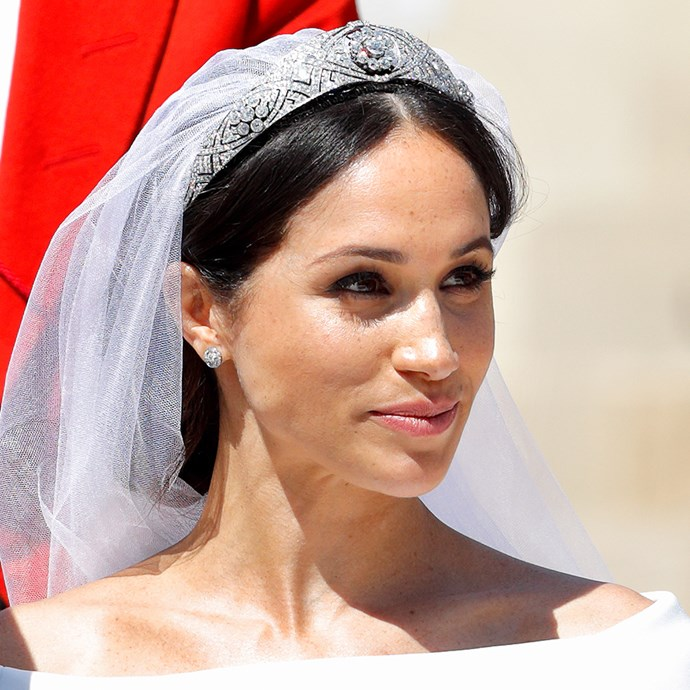 **The tiara:** Queen Mary's Diamond Bandeau Tiara.<br><br> **The history:** Queen Mary of Teck was rumoured to have had this tiara created to house a brooch she was given (the centre diamond). The tiara is broken up into 11 sections, which make it flexible, and is set in platinum. Meghan Markle brought it out of the vaults after 65 years to wear it on her wedding day.<br><br> **The current wearer:** Meghan, Duchess of Sussex.<br><br>