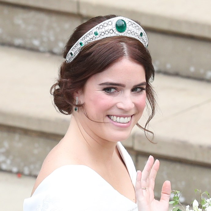 **The tiara:** The Greville Emerald Kokoshnik Tiara.<br><br> **The history:** Made for the Hon. Mrs. Ronald Greville in 1919, she then passed it on to Elizabeth, the Queen Mother, sometime in the 40s. It went unseen for decades until Princess Eugenie of York wore it on her wedding day. It incorporates rose-cut diamonds in a kokoshnik-style arc with six emeralds. The centre emerald is rumoured to weigh 93 carats.<br><br> **The current wearer:** Princess Eugenie of York.<br><br>