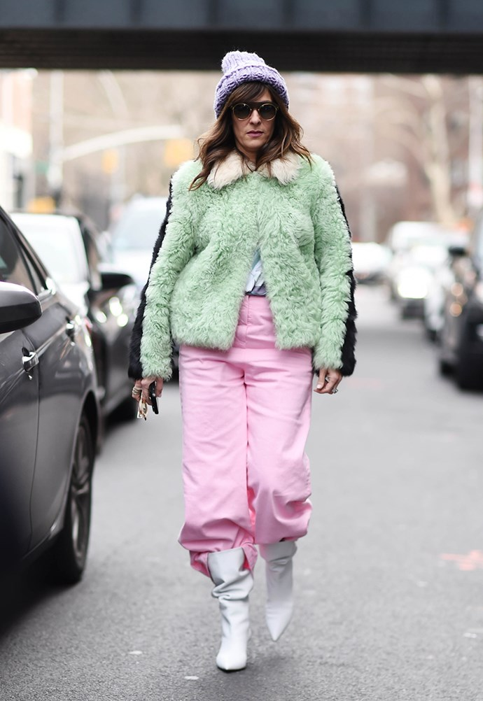 *Sugary Pastels*<br><br> Forget moody blacks and blues, NYFW went sweet. Opting for sugary pastels of pinks, blues, greens, yellows and purples, the streets outside shows could have been mistaken for an ice-cream parlour.