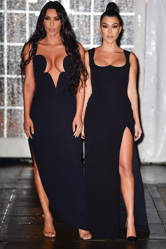 Kim and Kourtney Kardashain at the amfAR Gala in New York on February 6, 2019.