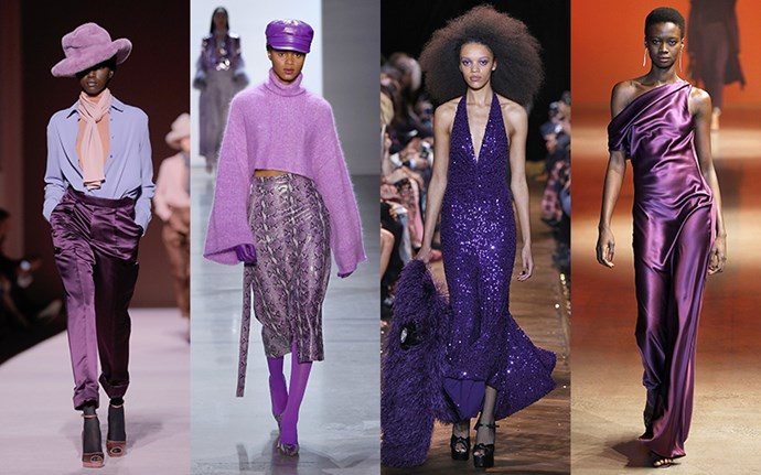 **Purple Reign** <br><br>If there was one color that ruled the runway this season, it was purple. The rich hue lent dramatic impact to everything from cosy sweaters to eveningwear. <br><br>*From left: Tom Ford, Sally LaPointe, Michael Kors Collection, and Cushnie*