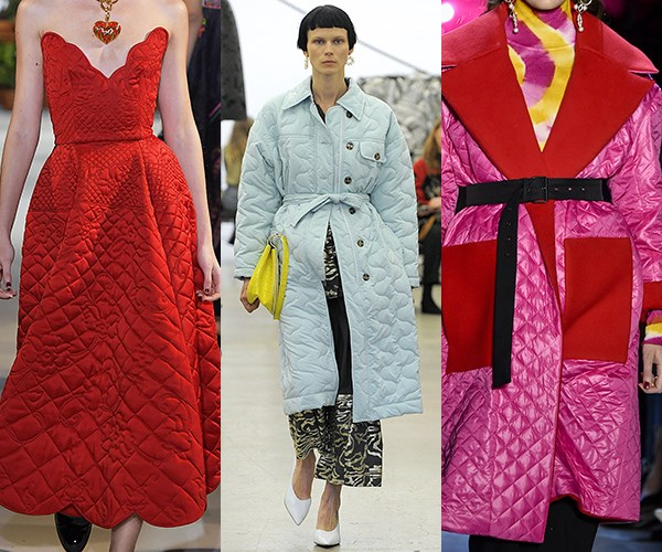 **Quilting** <br><br>Quilting got a fresh spin this season worn with cinched waists and rendered in lovely vibrant hues.  <br><br>*From left: Oscar de la Renta, Rachel Comey and Prabal Gurung*