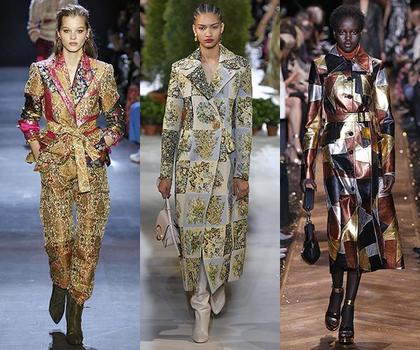 **Patchwork Dolls** <br><br>Patchwork comes out of grandma territory and into chic new terrains in structured outerwear with boss-lady appeal. <br><br>*From left: Proenza Schouler, Oscar de la Renta and Michael Kors*