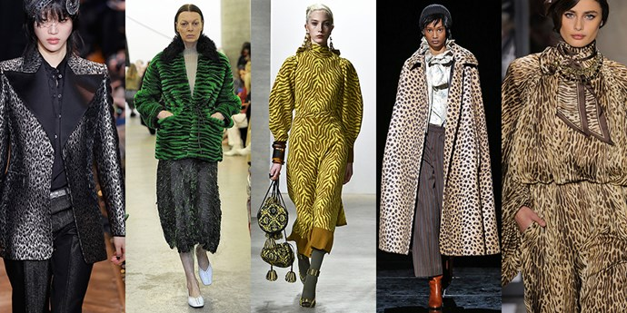 **Animal Instincts** <br><br>The animal print trend shows no sign of slowing down, with tiger and leopard taking centre stage this season. It's a jungle out there, so dress accordingly. <br><br>*From left: Michael Kors Collection, Rachel Comey, Ulla Johnson, Marc Jacobs and Tom Ford*