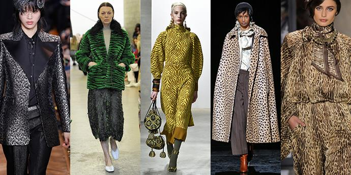 **Animal Instincts** <br><br>The animal print trend shows no sign of slowing down, with tiger and leopard taking centre stage. It's a jungle out there, so dress accordingly. <br><br>*From left: Michael Kors Collection, Rachel Comey, Ulla Johnson, Marc Jacobs and Tom Ford*