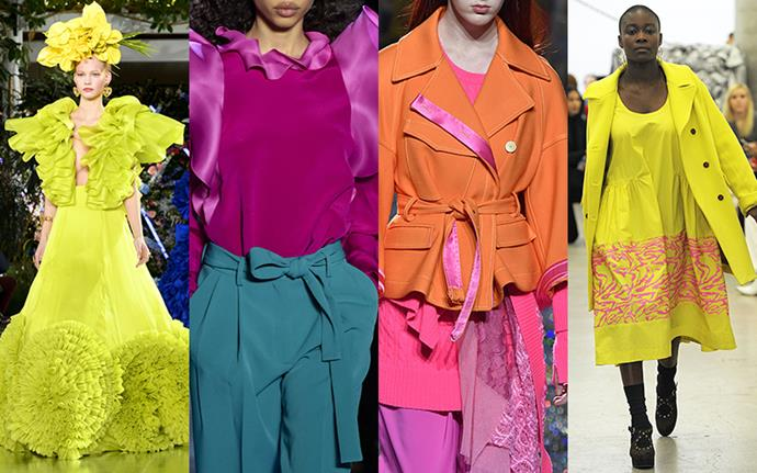 **Vibrant Hues** <br><br>Move over pastels: bolder-than-bold hues stole the spotlight on the Fall 2019 runways, worn mixed and matched or head-to-toe. What a bright idea.  <br><br>*From left: Rodarte, Prabal Gurung, Prabal Gurung and Rachel Comey*