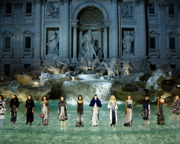 ***Fendi Haute Couture autumn/winter '16*** <br><br> For Fendi's 90th anniversary show, Lagerfeld created a glass walkway over Rome's iconic Trevi Fountain, and used it for an ethereal runway. Models like Bella Hadid and Kendall Jenner walked in what's become one of the most memorable shows in recent memory.