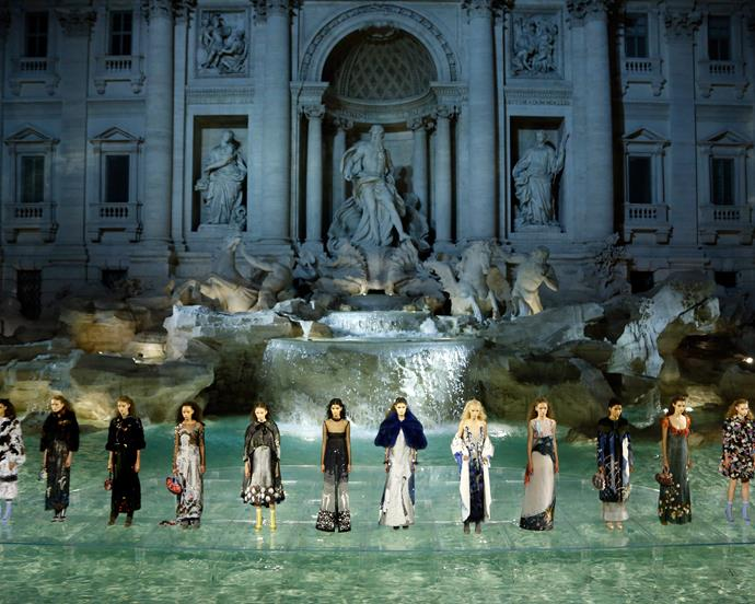 ***Fendi Haute Couture autumn/winter '16*** <br><br> For Fendi's 90th anniversary show, Lagerfeld created a glass walkway over Rome's iconic Trevi Fountain, which transformed it into an ethereal runway. Models like Bella Hadid and Kendall Jenner walked in what's now become one of the most recognisable fashion shows in recent memory.
