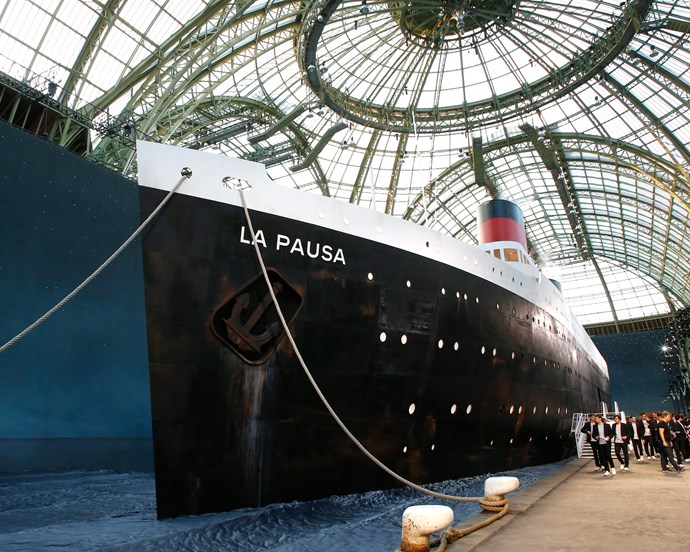 ***Chanel Cruise 2019*** <br><br> Lagerfeld took the term 'Cruise' completely literally for Chanel's Cruise 2019 show, creating a ship modelled off the famous French liner, SS Normandie.