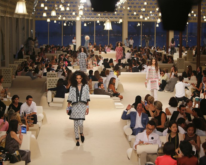 ***Chanel Cruise '15*** <br><br> Lagerfeld transported hoards of celebrities to Dubai's 'The Island' (an artificial island perched in the Arabian Gulf) for Cruise 2015.