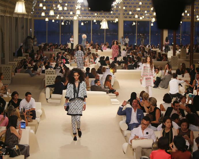 ***Chanel Cruise '15*** <br><br> Lagerfeld transported hoards of fashion's It-crowd to Dubai's 'The Island' (an extravagant artificial island in the Arabian Gulf) for Cruise 2015.