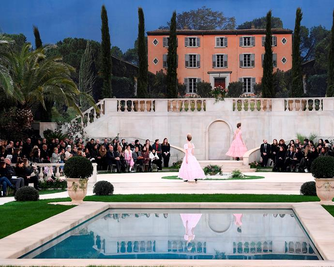 ***Chanel Haute Couture spring/summer '19*** <br><br> While Lagerfeld didn't appear at his final Chanel show, it will likely be remembered as one of his greatest. The set transported show attendees (and those of us watching from home) to an 18th-century wonderland inspired by the Côte d'Azur, with Italian model Vittoria Ceretti closing the show as Lagerfeld's final couture bride.