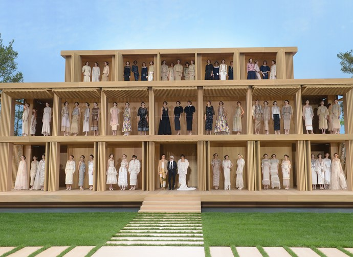 ***Chanel Haute Couture spring/summer '16*** <br><br> For Chanel's spring 2016 couture show, Lagerfeld created a stunning doll house, and each model (including the likes of Gigi and Bella Hadid) climbed up into the wooden house for the finale.