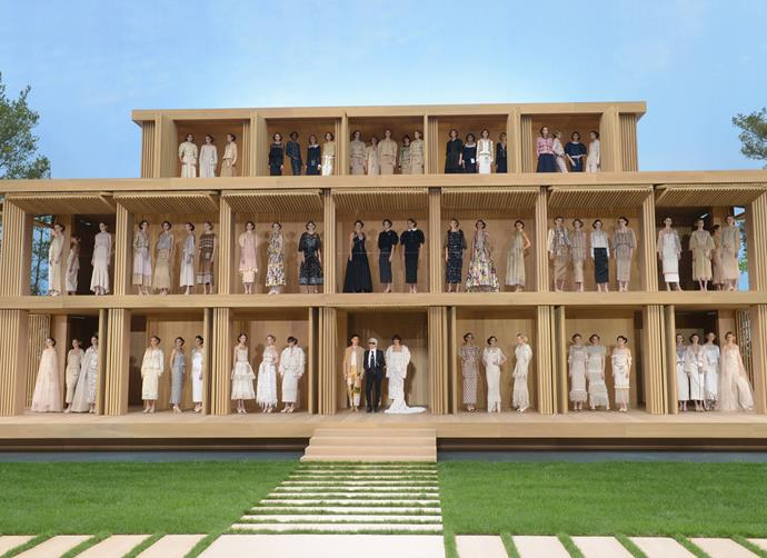 ***Chanel Haute Couture spring/summer '16*** <br><br> For Chanel's spring/summer '16 couture show, Lagerfeld created a stunning doll house, and each model (including the likes of Gigi and Bella Hadid) perched themselves inside the wooden house for the finale.