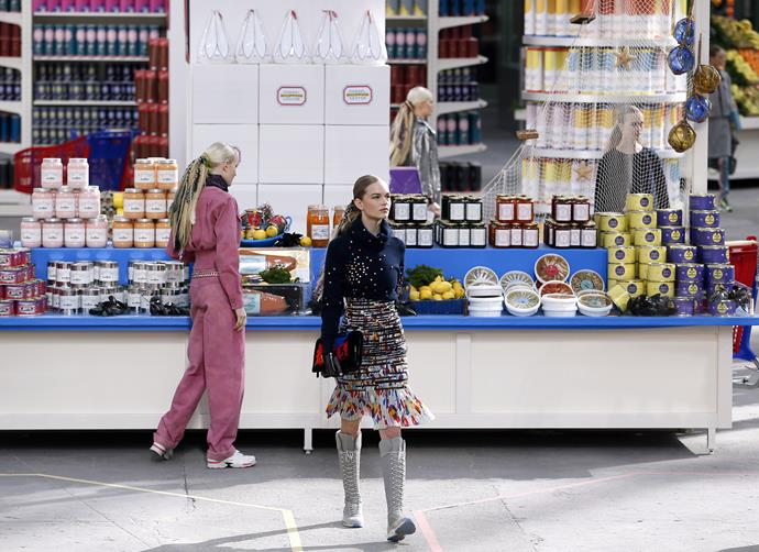***Chanel autumn/winter '14*** <br><br> Chanel's autumn 2014 show saw an entire supermarket spring up inside the Grand Palais, featuring more double-C-adorned grocery products than we could comprehend.
