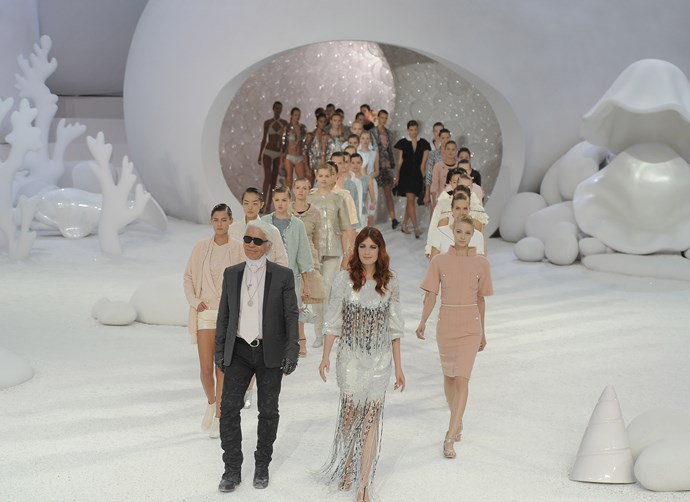 ***Chanel spring/summer '12*** <br><br> Lagerfeld created a Great Barrier Reef-esque set for Chanel spring 2012, and had models exit from an anemone—as well as closing the show with singer Florence Welch.