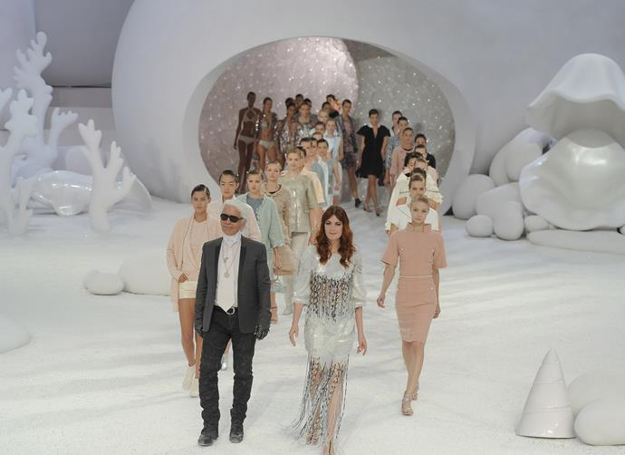 ***Chanel spring/summer '12*** <br><br> Lagerfeld created a Great Barrier Reef-esque set for Chanel spring/summer '12, and had models exit from an anemone—as well as inviting singer Florence Welch to close the show.