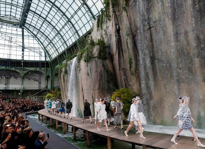 ***Chanel spring/summer '18*** <br><br> In perhaps one of Chanel's most intricate displays, the aquatic-themed spring/summer 2018 show saw models walking around and underneath insanely lifelike waterfalls. Thankfully, nobody appeared to get wet.
