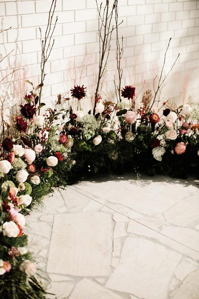 **On the floral arrangements:** We ensured to feature plenty of Australian natives as Chris loves native gardens and displayed them with wildflowers as I love romantic unstructured floral arrangements.