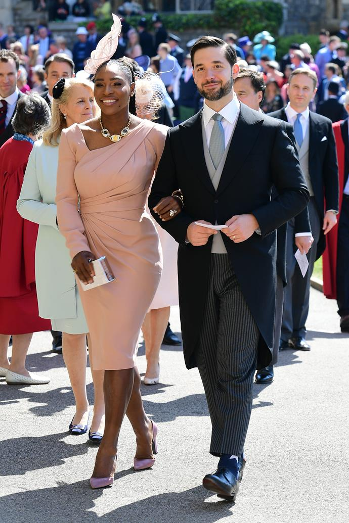 Serena Williams with her husband, Alexis Ohanian, at the wedding of Meghan Markle and Prince Harry on May 19, 2019.