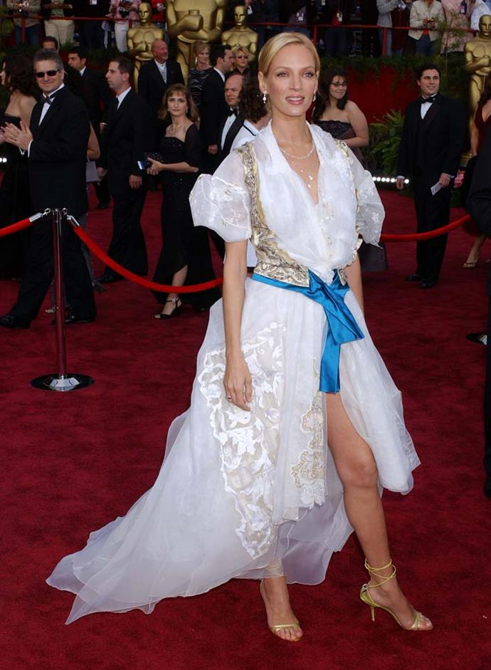 """***Uma Thurman in Christian Lacroix, 2004***<br><br> Initially naming this Christian Lacroix dress as her """"most embarrassing experience,"""" Thurman opened up later that """"everyone looked the same. Everyone had it down to such a perfect T… You get bored. That's when you have to say, 'I will be worst-dressed.'"""""""
