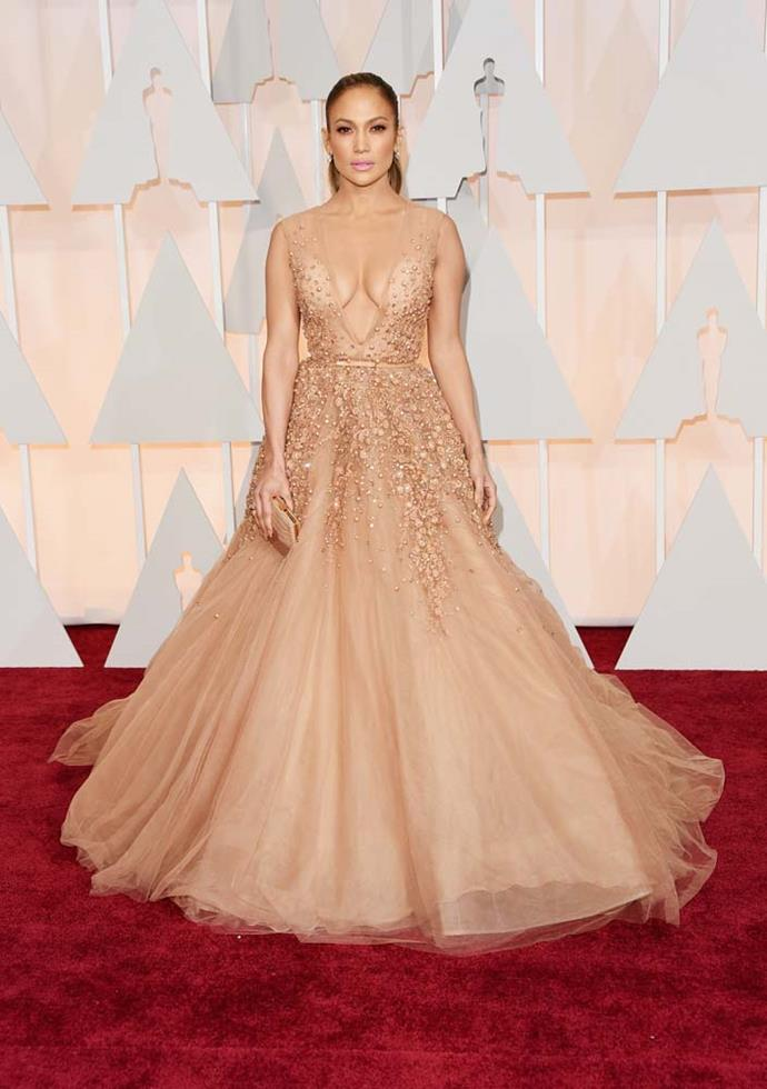 ***Jennifer Lopez in Elie Saab, 2015***<br><br> Despite being beautiful on the red carpet, Jennifer Lopez's Elie Saab got more attention because she had an accidental style-snap with someone else. Director Luciana Duvall also wore the same dress on the same red carpet, hers in a slightly different colour.