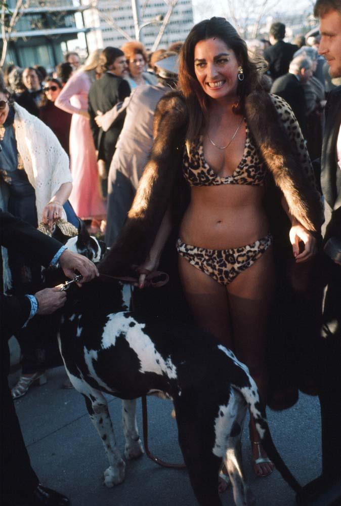 ***Edy Williams, 1974***<br><Br> This one might not tick the 'gown' box, but it definitely ticks the 'controversial' one. Her leopard-print bikini was worn with a fur coat and her pet Great Dane.