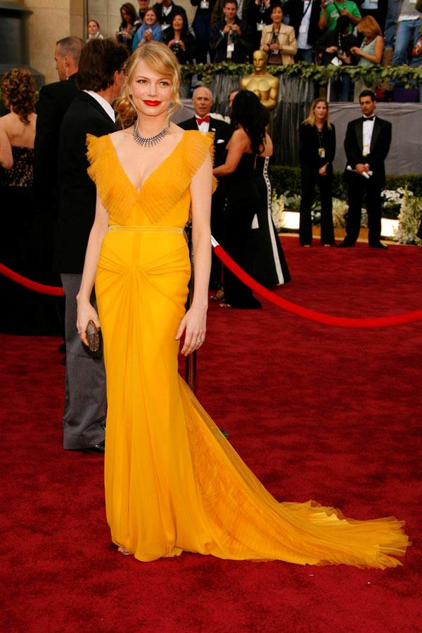 **GEMINI** <br>Your colour: Yellow <br>Gentle, curious and open-minded, Geminis are born under the sun sign and feel great in yellow, like Michelle Williams' Vera Wang dress. Soft ruffles and ruching appeal to their artistic side.