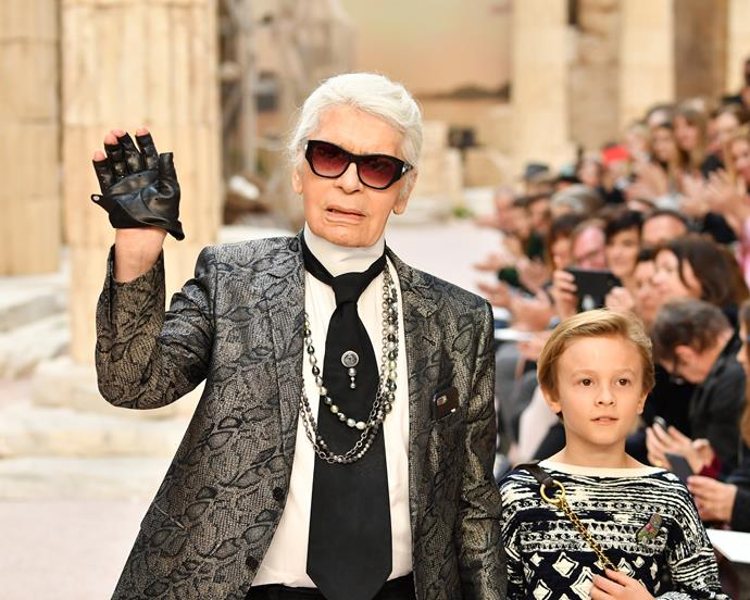 Lagerfeld with his nephew, Hudson Kroenig, in 2017.