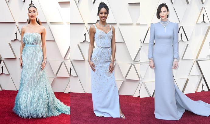 ***Ice Blue***<br><br> Elaine Welteroth (in Celia Kritharioti Couture), Laura Harrier (in Louis Vuitton) and Charlize Theron (in Dior) all put icy blue on our radar.