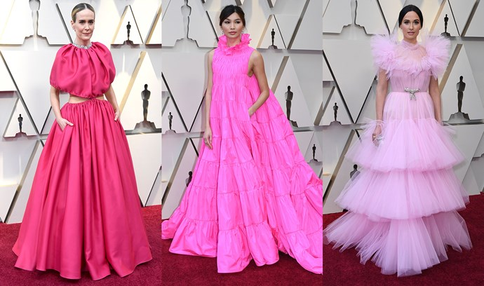 ***Pink Volume***<br><Br> Tiers, ruffles or circle skirts, voluminous pink gowns were everywhere. Sarah Paulson in Brandon Maxwell, Gemma Chan in Valentino Couture and Kacey Musgraves in Giambattista Valli Couture lead the charge.