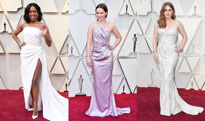 ***Strapless Elegance***<br><br> After modesty and full-length sleeves reigned on the red carpet for a year, Regina King (Oscar de la Renta), Emilia Clarke (Balmain) and Amy Adams (Atelier Versace) all brought classic sexy back in via a strapless gown.