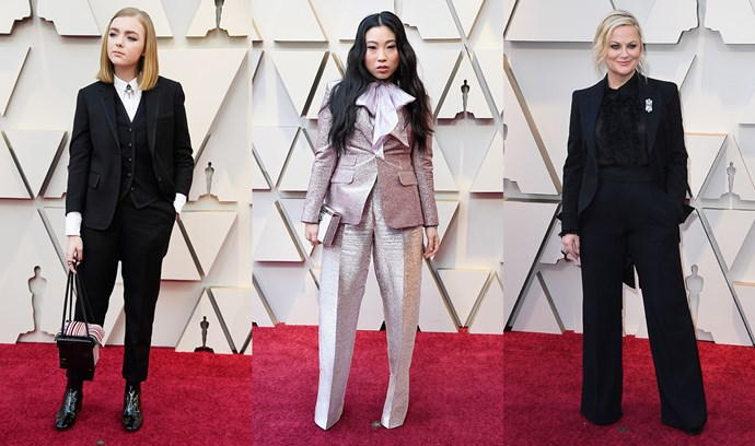 ***Suit Up***<br><br> It takes guts to rock a suit to the Oscars, but Elsie Fisher (in Thom Browne), Awkwafina (in DSquared2) and Amy Poehler (in Alberta Ferretti) all took menswear out for a spin.