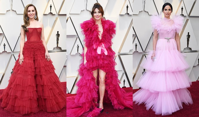 ***Tulle Tiers***<br><br> Whether with high-low hems like Linda Cardellini's Schiaparelli gown, or with an illusion neckline like Kacey Musgraves' Giambattista Valli gown, tulle tiers were a mainstay.