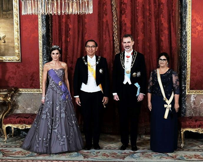 The Spanish royals with the President of Peru, Martin Vizcarra, and his wife, First Lady Maribel Díaz Cabello, on February 27, 2019.