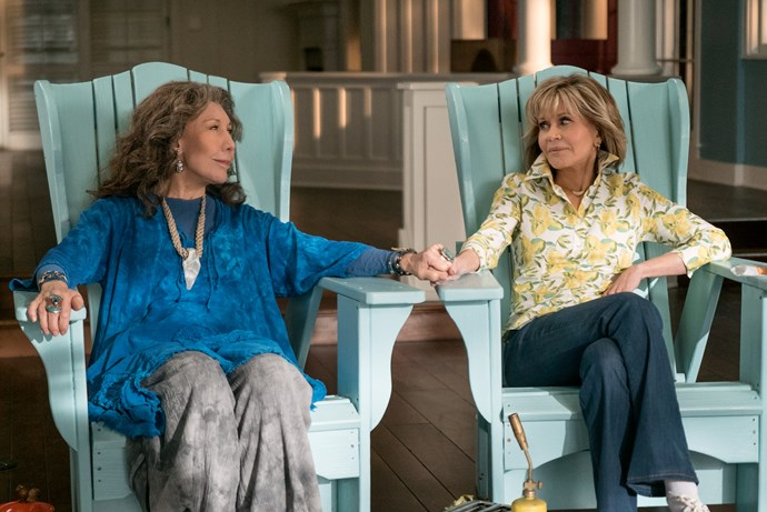 """***Grace and Frankie*** <br><br> Jane Fonda (Grace) and Lily Tomlin (Frankie) star as two women whose lives are suddenly turned upside down when their husbands reveal they are gay and leave them for each other. Both sparring partners and partners-in-crime, they form an unlikely bond to face an uncertain future together and discover a new definition of """"family,"""" with laughter, tears and plenty of mood enhancers along the way."""