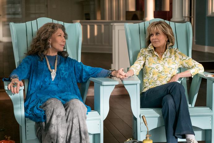 "***Grace and Frankie*** <br><br> Jane Fonda (Grace) and Lily Tomlin (Frankie) star as two women whose lives are suddenly turned upside down when their husbands reveal they are gay and leave them for each other. Both sparring partners and partners-in-crime, they form an unlikely bond to face an uncertain future together and discover a new definition of ""family,"" with laughter, tears and plenty of mood enhancers along the way."