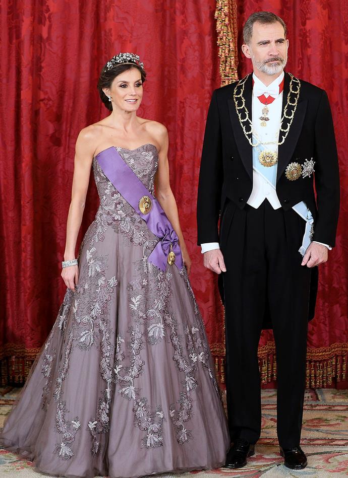 Queen Letizia and King Felipe VI of Spain in Madrid on February 27, 2019.