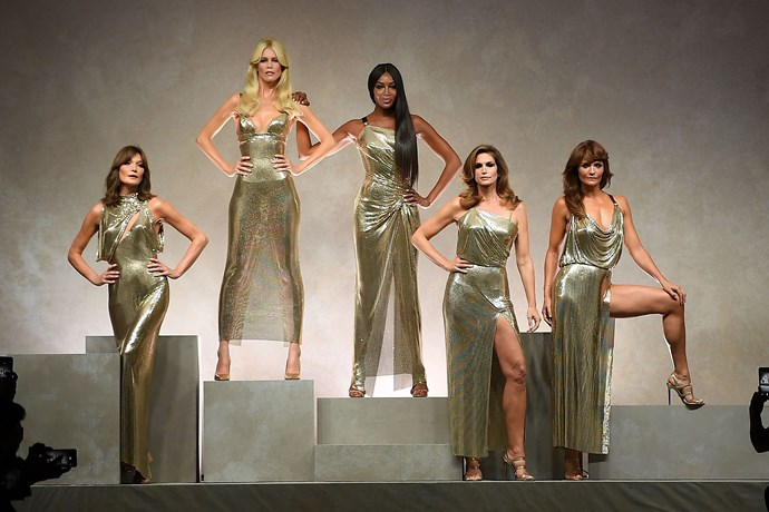 Carla Bruni, Claudia Schiffer, Naomi Campbell, Cindy Crawford and Helena Christensen at Versace spring/summer '18.