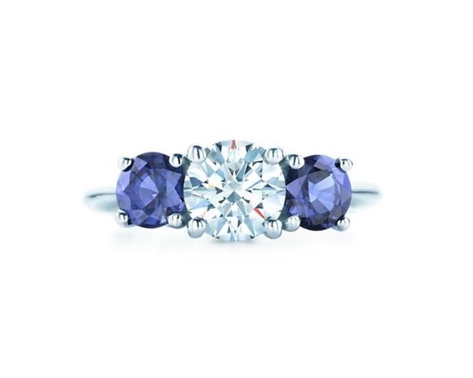 "**The Vibe: Multi-Stone** <br><br> Three stone ring with sapphire side stones, POA at [Tiffany & Co](https://www.tiffany.com.au/engagement/rings/three-stone-with-sapphire-side-stones/0-5carats-17821237|target=""_blank""