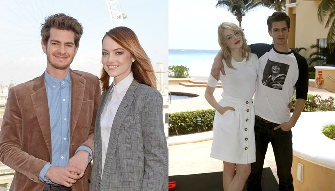 "***Emma Stone and Andrew Garfield*** <br><br> Garfield and Stone met on the set of the 2012 film *The Amazing Spider Man*, and were confirmed to be dating soon afterwards. While Stone has since moved on with *Saturday Night Live*-producer boyfriend Dave McCary and Garfield is reportedly dating Rita Ora, they've gushed over one another in post-breakup interviews, with Stone saying in a 2016 interview with *Vogue* US that she loves Garfield ""very much""."