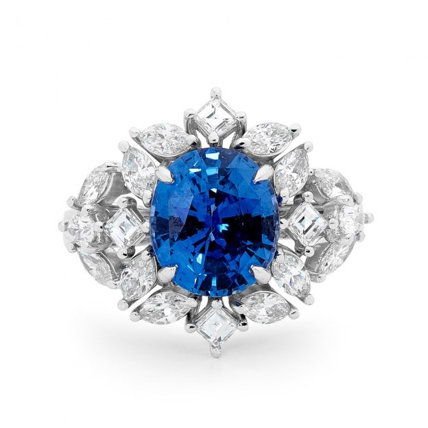 "**The Vibe: Elaborate** <br><br> Sapphire and diamond cluster ring, POA at [Matthew Ely](http://www.matthewely.com.au/products/sapphire-and-diamond-cluster-ring/5341/?terms=46&cat=Colour|target=""_blank""